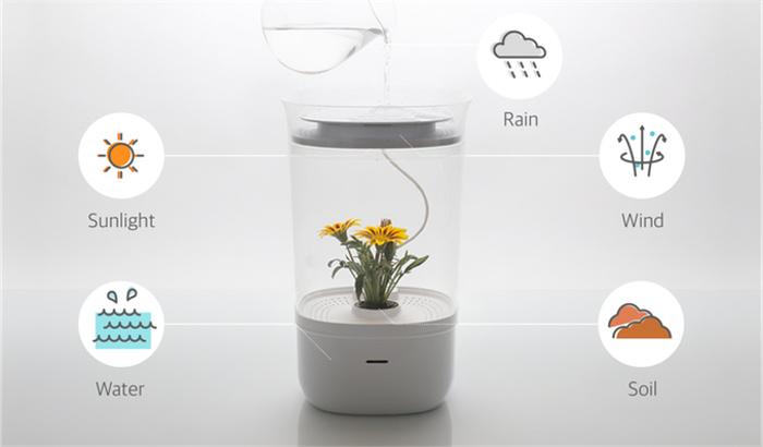 光・水・風の管理機能にフルHDカメラがついたプランター「Bloomengine」